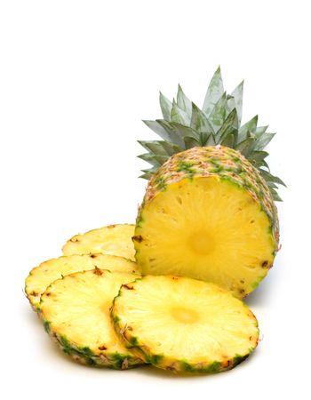 白い背景上に新鮮なパイナップル 写真素材