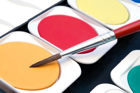 colorful watercolour and red brush photo
