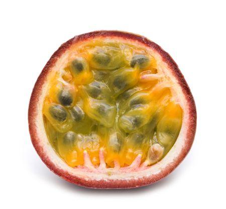 slice fresh passionfruit on white background Stock Photo