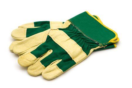 白い背景の上に手袋を構築