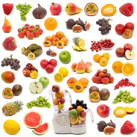 juicing: collection of fresh juicy fruits on white background Stock Photo