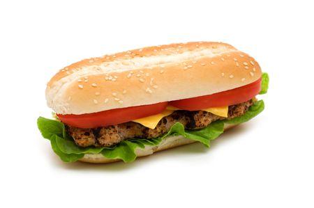 Long tasty cheeseburger on white background Stock Photo