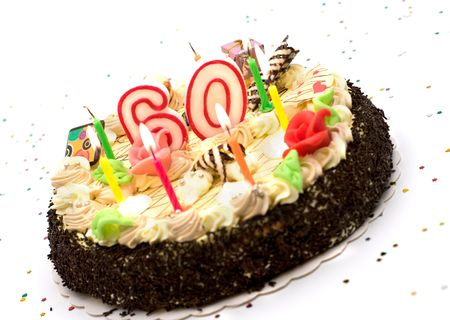 Birthday Cake For 60 Years Jubilee On White Background With Glitter Stock Photo Picture And Royalty Free Image 3530401