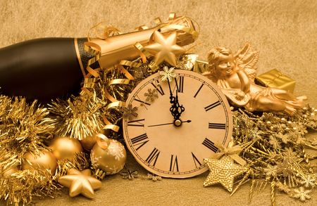 new year decoration on golden background