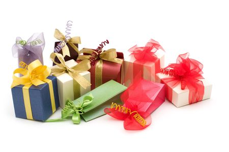 fancy gift boxes on white background