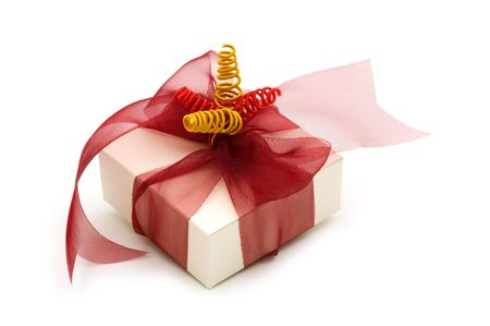 one  fancy gift box on white background photo