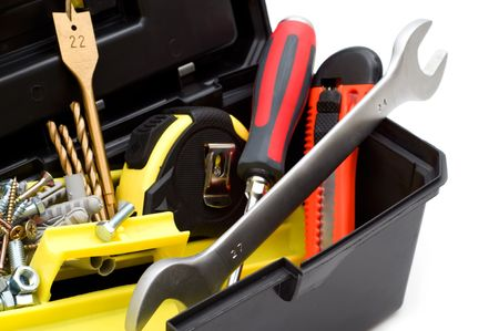 handy: tools in the toolbox on white background Stock Photo