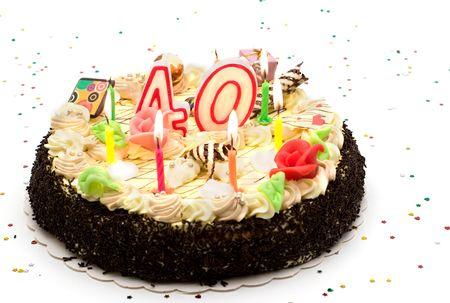 G�teau d'anniversaire 40 ans, avec des bougies et des paillettes Banque d'images - 3596910