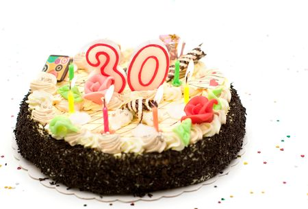 Torta de cumpleaños de 30 años con velas y purpurina  Foto de archivo - 3596913