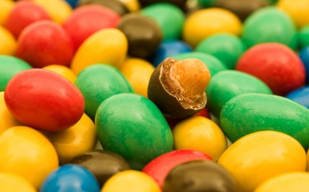 colorful candies with nut  photo