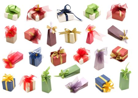 collection fancy gift boxes on white