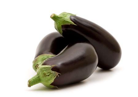 fresh aubergine on white background