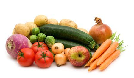 fresh vegetables assortment on white background Stock Photo - 3652798