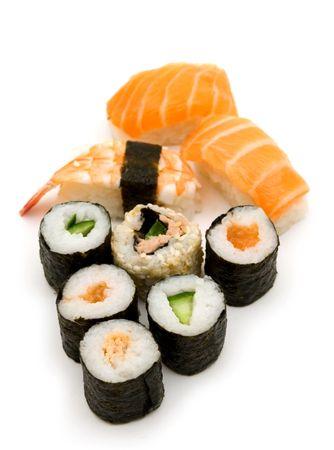 soysauce: sushi on white background Stock Photo