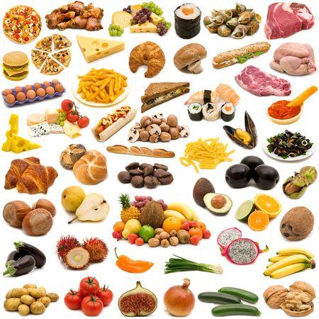gran página de recogida de alimentos en el fondo blanco Foto de archivo