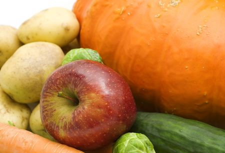 red apple and vegetables on white background Stock Photo - 3737400