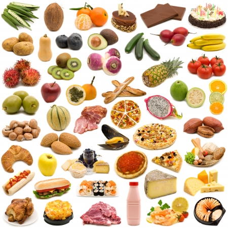 large page of food on white background photo