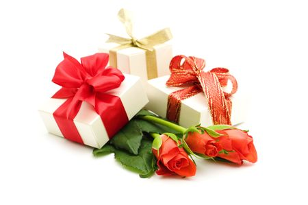 red roses and gift box on white background Stock Photo - 3902544