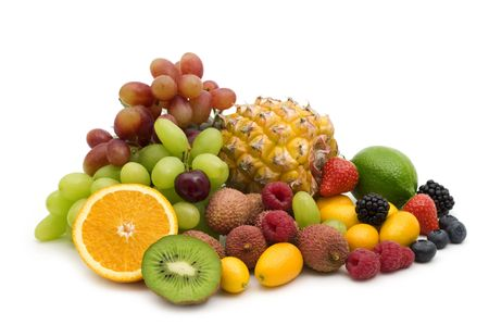 exotic fruits: exotic fruits and berries on white background Stock Photo