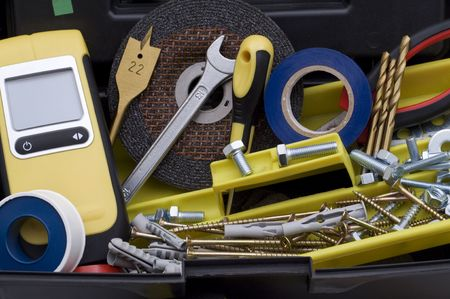 plastic toolbox and tools background photo