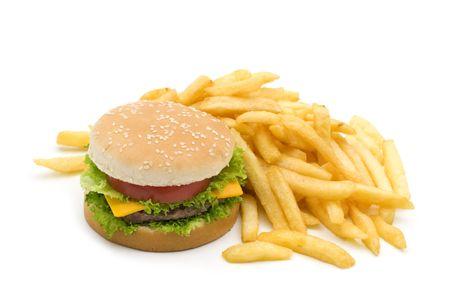 白の背景においしいハンバーガーとポテトのフライド ポテトします。