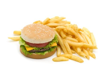 Tasty hamburger with potatoes fries on white background