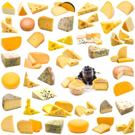 large page of cheese collection on white background Stock Photo