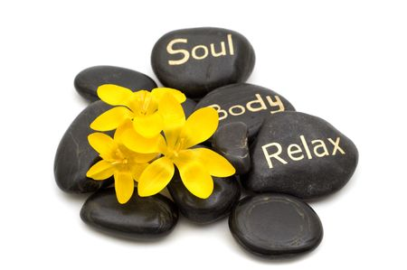 black spa massage stones and flowers on white background