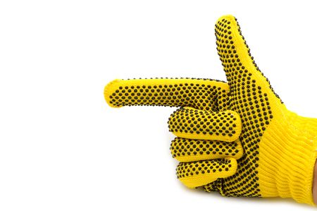 work material: hand in glove on white background