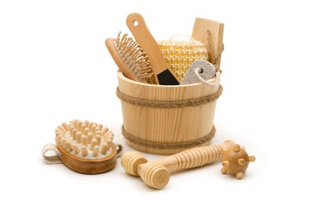 toiletry: Toiletry and skincare wooden accessories in the wooden bucket