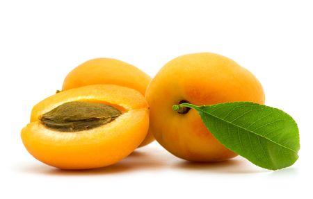 slice apricot on white background Stock Photo