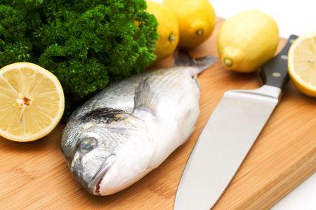 Dorada fish and vegetables photo