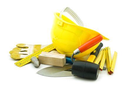 fixer: mason working tools on white