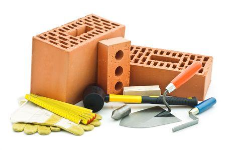mason tools on white background