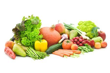 白い背景で果物と野菜