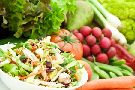 fresh salad on vegetarian background Stock Photo - 6185466