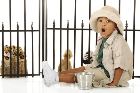 zoo as: An adorable preschooler roaring like the lions as he prepares to feed the animals in his pretend zoo.  Hes dressed in a tan safari hat, shirt and shorts.   Stock Photo