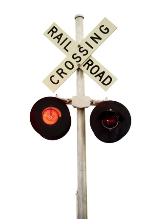 A rail road signal with one red light on   Isolated on white