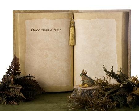 Una rana principe a guardare un libro di grandi dimensioni che dice, C'era una volta con abbondanza di spazio per il testo