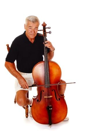 Full-length image of a senior man playing his cello