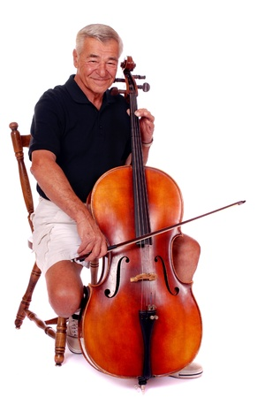 Happy senior man playing his cello  Stock Photo - 13531592