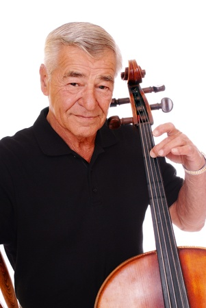 Close-up of a senior man playing his cello  photo