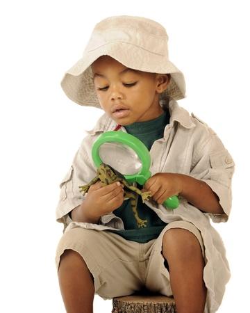 An adorable preschooler in a safari hat and explorer clothes examining a frog photo