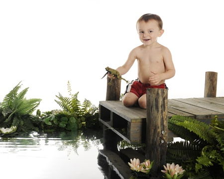 An adorable preschooler happily returning a frog to the water   The boy sits on a dock surrounded by water and foliage   On a white background with plenty of space for your text  photo