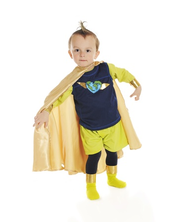 Portrait of  Planet Man , an adorable, preschool superhero whose job is to protect the ecology   On a white background  Standard-Bild