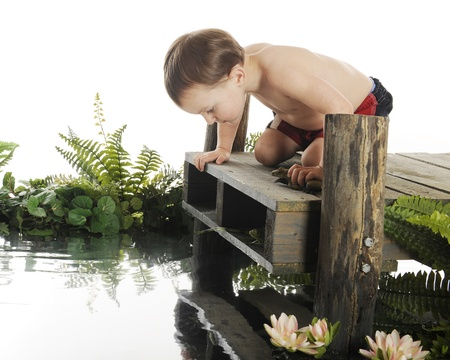 reflection: An adorable preschool  swimmer  looking down into the water from a rustic, old dock