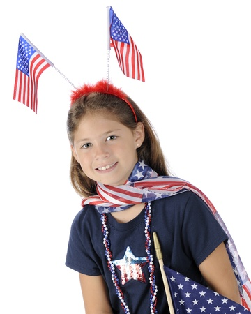 Portrait of a pretty elementary girl dressed to celebrate American Stock Photo - 13963634