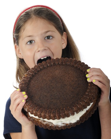 An attractive elementary girl biting into a giant-sized, cream-filled, chocolate cookie   Space on cookie for your text   On a white background