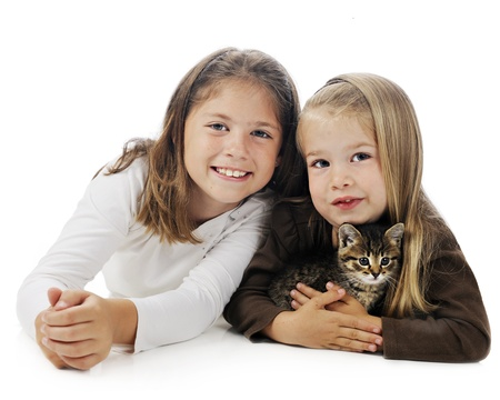 Closeup image of a pretty elementary girl and her adorable preschool sister holding a young kitten.  On a white background. Stock Photo - 14089819