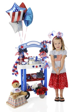 An adorable preschooler standing by her 4th of July vendor stand.  The stand's signs are left blank for your text.  On a white background. Stock Photo - 14089820
